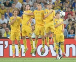 Ukraine playes (from L) forward Marko Devic, forward Artem Milevskiy, defender Yevhen Khacheridi, midfielder Anatoliy Tymoshchuk and midfielder Yevhen Konoplyanka stop a free kick during the Euro 2012 championships football match Ukraine vs France on June 15, 2012 at the Donbass Arena in Donetsk. AFP PHOTO / PATRICK HERTZOG