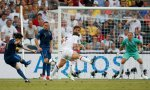 France's Samir Nasri (L) shoots to score against England during their Group D Euro 2012 soccer match at the Donbass Arena in Donetsk, June 11, 2012.   REUTERS/Michael Buholzer (UKRAINE    Tags: SPORT SOCCER)