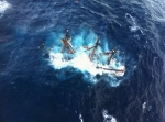 The HMS Bounty is shown submerged in the Atlantic Ocean during Hurricane Sandy approximately 90 miles southeast of Hatteras, North Carolina